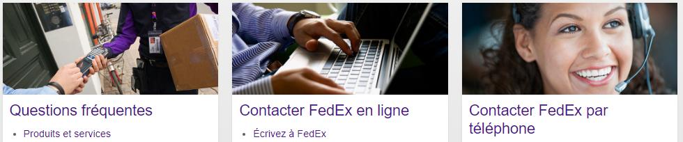 les différents moyens de contact avec Fedex