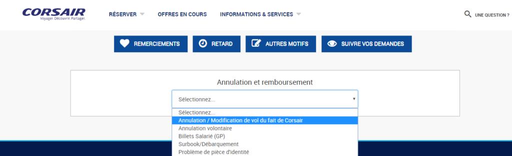 formulaire de réclamation sur Corsair international