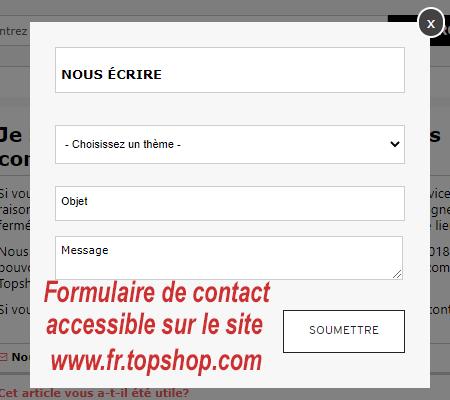 contacter le service client Topshop par mail